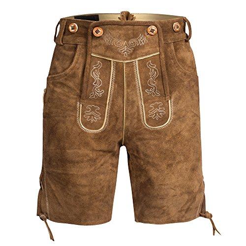 Herren Trachten Lederhose Bundhose kurz mit Trägern aus Rindveloursleder in Hellbraun Gr. 50