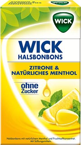 Wick Zitrone & Natürliches Menthol ohne Zucker, 10er Pack (10 x 46 g)