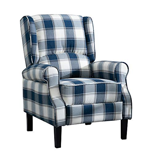 HUISEN furniture Living Room Comfy Recliner Armchair Small Sofa Chair Reclining Chair Fabric Upholstered Leisure Chairs Wing Back with Arms for Lounge Bedroom Home TV Cinema Gaming (Navy Blue Tartan)