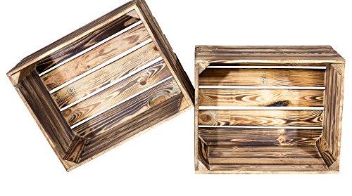 4 Stück flambierte / geflammte Obstkisten Schultz (BF) ca 50 x 40 x 30 cm / Apfelkisten Weinkisten aus dem Alten Land