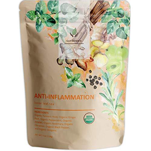 Gardenika Organic Loose Leaf Herbal Tea, Caffeine Free, Wellness and Immunity - 4 oz (Anti-Inflammation)