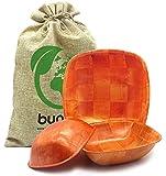 Ensaladera bambu rojo. Set 3 piezas apilables. Cuenco tazon bowl eco friendly, madera de bambu natural biodegradable sin BPA