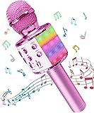 Micrófono Inalámbricos Karaoke, Microfono Niños Bluetooth Portátil con Altavoz y Luces LED, para KTV Canta Partido...