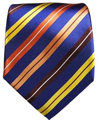 Paul Malone Cravate homme orange bleu rayé 100% soie
