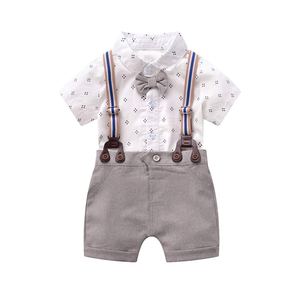 NWT Baby Boys Blue Bow Tie Vest Suit Short Sleeve Romper Outfit 4th of July