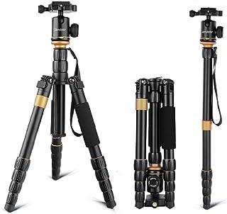 Andoer Pro Trípode Reflex Portátil 132cm Trípode Monopie 2-en-1 Soporte de Fotos de Aleación de Aluminio para Cámara Digital Canon Nikon Sony Pentax Panasonic DSLR y Videocámara Carga Máxima 5kg