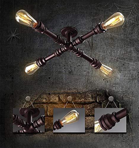 FGH Retro plafondlamp, jaargang water buis plafond/muur lamp, industrieel ontwerp plafondlamp interieur verlichting woonkamer eetkamer keuken huis slaapkamer lamp ijzer 4 * E27 50 cm