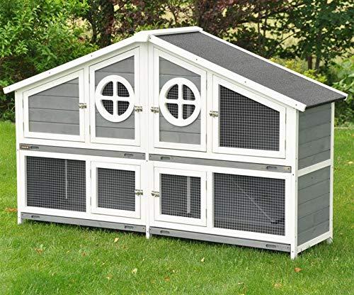 nanook Momo XXL Doppel Kaninchenstall Hasenstall - doppelstöckig - wetterfest - 164 x 48 x 110 - Farbe: grau/weiß - extra großes Kaninchengehege