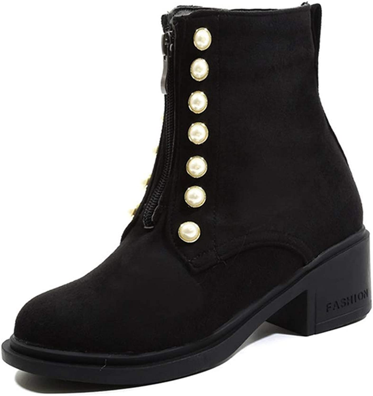 Fashion shoesbox Women's Chunky Mid Heel Pearls Ankle Boots Round Toe Platform Zipper Booties Martin Dress Short Boots
