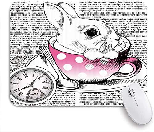 SURERUIM Mauspad - Cartoon Kaninchen Hase in rosa Tasse Teller Löffel römische Ziffer Code Code Zeitung - Gaming und Office rutschfeste Gummibasis Mauspads,240×200×3mm