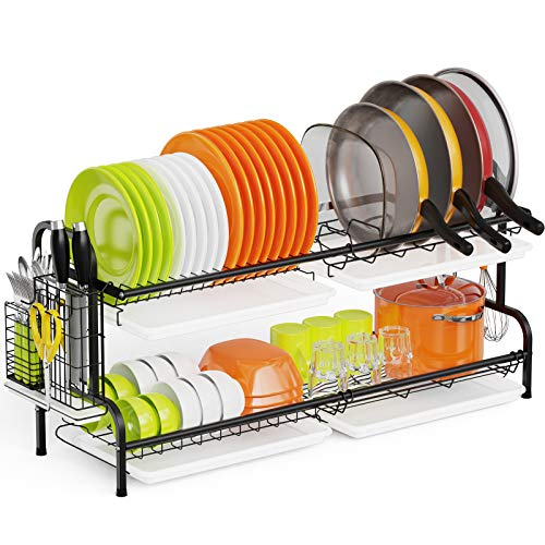 Dish Drying Rack Swedecor Large 2 Tier Dish Rack for Pots and Pans Stainless Steel Dish Drainer with Pot Holder Drain Board and Utensil Holder for Kitchen Counter Black