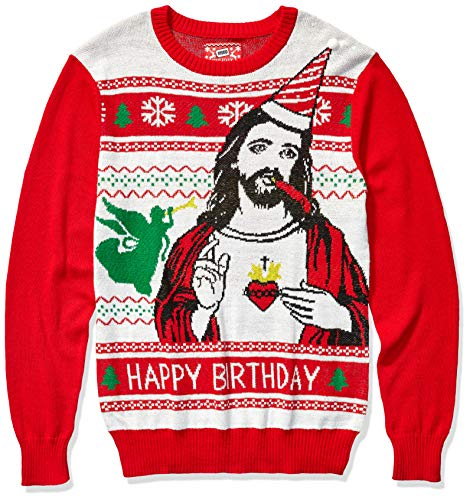 Hybrid Apparel Men's Ugly Christmas Sweater, Jesus/Red, XX-Large