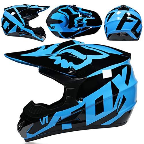 KIVEM Casco de Moto,Casco de Motocross,Casco Cross Moto Set con Gafas Máscara Guantes,Deportes de Motos Off-Road Racing Downhill Enduro Casco ATV MTB BMX Quad Cascos de Motocicleta,Azul Brillante,S