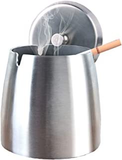YCOCO Outdoor Ashtray with Lid for Cigarettes,Stainless Steel Windproof/Rainproof Ashtray for Outside Home Table