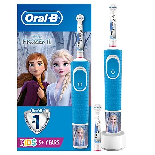 Oral-B Kids Frozen Elektrische Zahnbürste mit Disney-Stickern, 2 Aufsteckbürsten, für Kinder ab 3 Jahren, blau