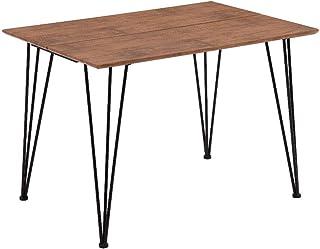 GOLDFAN Table de Salle à Manger Rectangulaire Table Cuisine Industriel Marron Rétro Table à Manger en Bois avec Pieds en M...