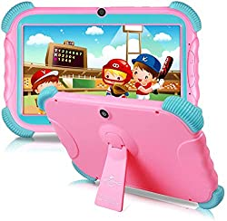 Tablet Kinder 7 Zoll Kids Tablet Android 9.0 IPS HD Bildschirm 2GB RAM + 16GB ROM Babypad PC mit WLAN und Zwei Kamera und Google Play Store Bluetooth GMS Zertifiziert Kids Tablets Rosa Hülle