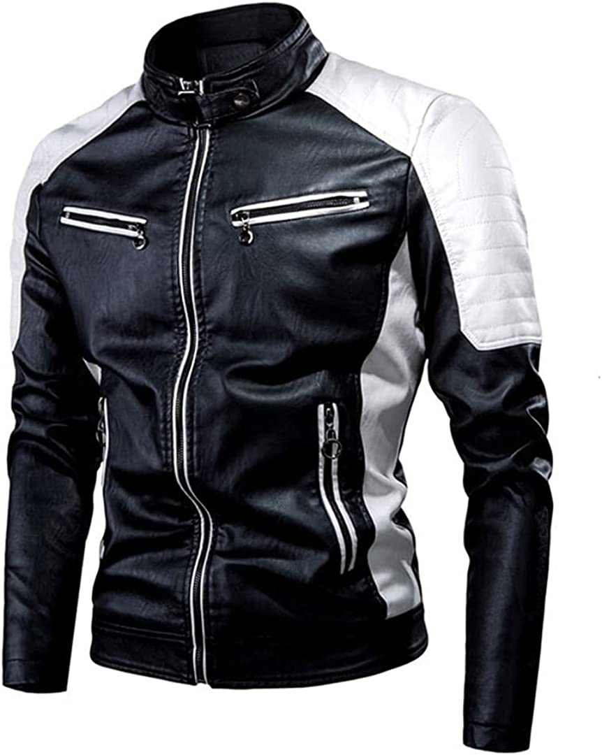 Men Faux Leather Jacket Motorcycle Warm Windproof Jackets Black Outwear Matching PU Leather Coats