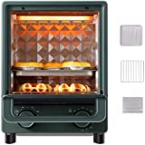 12L Mini Oven & Grill, Electric Multi Function Cooker, Multifunctional Steam Oven with Baking Tray, Grill, Bread Crumb Tray, Adjustable Temperature Control & Timer,Green-1500W,Green,1500W