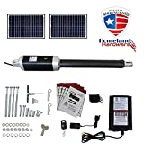 (USA Based Seller) 18Ft. Solar Powered Single Swing Gate Openers 18 Feet or 900+ Lbs. Combined gate Capacity ETL Listed IP56 Waterproof Dual (2 Remotes) Double Leaf by Homeland Hardware