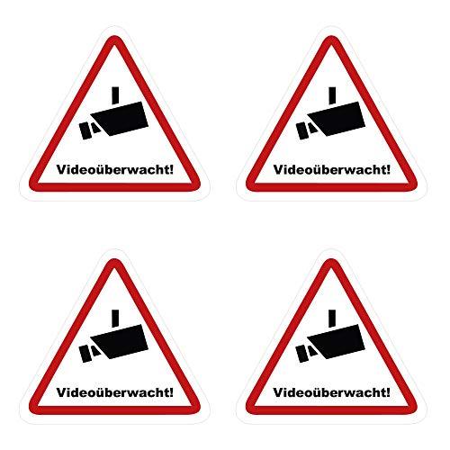 kleberio® 4 Selbstklebende Aufkleber Videoüberwachung - Achtung Videoüberwachung - 15 x 13 cm Hinweisschild Warnschild Kameraüberwachung Alarmanlage alarmgesichert Privatgrundstück verboten