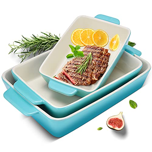 3Piece Casserole Dish Ceramic Baking Dish Rectangular Baking Dishes for Oven Ceramic Bakeware with Handles Durable Nonstick Large Lasagna Pan for Cooking, Cake Dinner, and Daily use, Gradient SkyBlue