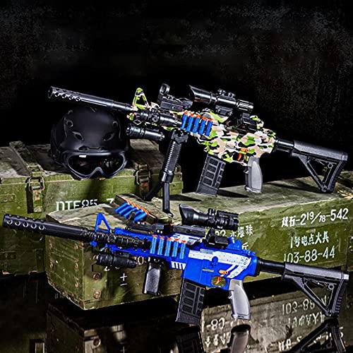 Pistola de Juguete Automática Eléctrica M416 con 50 Balas Suaves, Pistolas Blasters de Espuma de Juguete de Bricolaje con Alcance y Correa para El Hombro, Niños,Blue