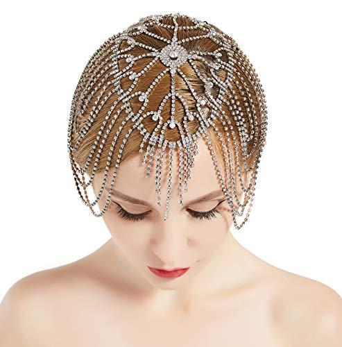 BABEYOND 1920s Stirnband Damen Haar Kette Gatsby Kostüm Accessoires 20er Jahre Flapper Blinkendes Haarband Silber