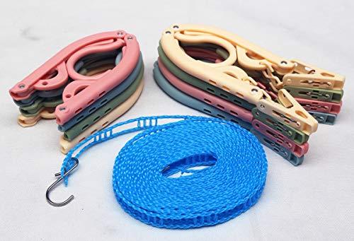 WECAN (8er-Pack) Tragbare farbige zusammenklappbare Kleiderbügel, tragbare zusammenklappbare Kleiderbügel, Wäschetrockner mit 5 m winddichter Wäscheleine für Campingreisen im Freien