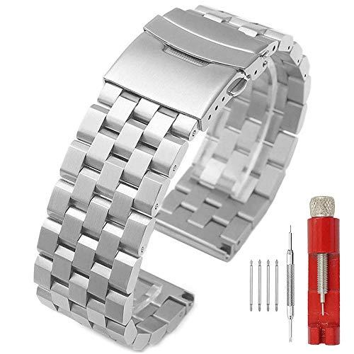 Kai Tian Correas de reloj de metal cepillado de 24mm Cierre de despliegue de acero inoxidable 5 filas Correa reloj Pulsera Reloj para hombre Bandas Plata