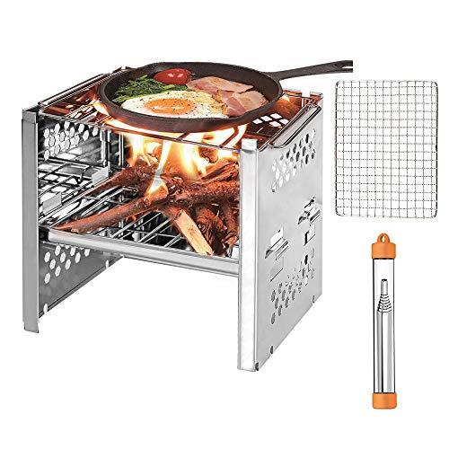 PSKOOK Edelstahl Grill Gasbrenner für Outdoor Kochen Picknick Campingkocher tragbare Faltbare leichte Edelstahl-Herd Holzofen Backpacking Herd Mini BBQ Grill mit Pocket Bellow(Typ 1)