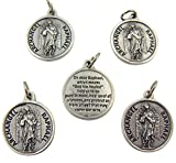 Archangel Saint Raphael Silver Tone Medal with Prayer...