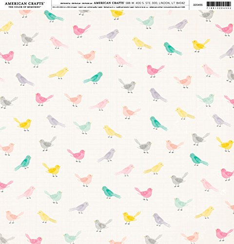 American Craft Crate Paper - Bloom Collection - Animal Cardstock 12 x 12 Thickers -Little Bird