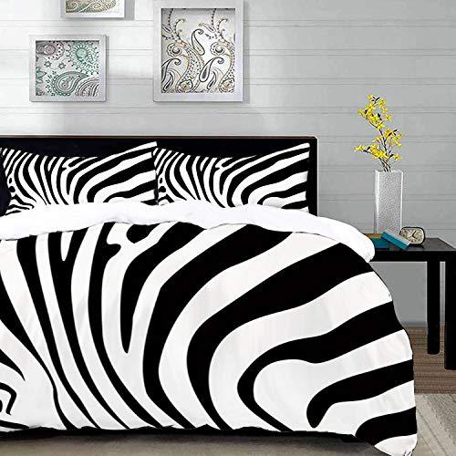 Bedding Juego de Funda de Edredón,Microfibra -Estampado de zebra, Patrón de piel de animal de cebra Naturaleza Vid - Funda de Nórdico y Fundas de Almohada - (Cama 150 x 200cm + Almohada 63X63cm)