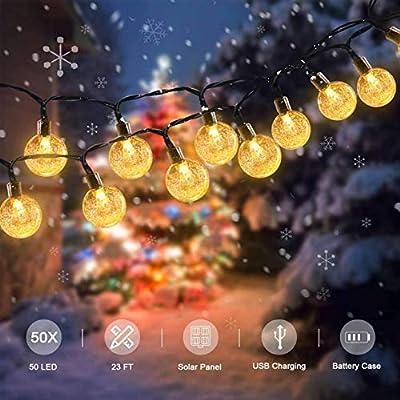 Garden Solar String Lights Outdoor, TASMOR 50 LED Globe Bulb String Lights with Remote 23FT Waterproof 8 Modes Fairy Lights Crystal Balls Decorative Lighting for Patio, Backyard, Home (Warm White)