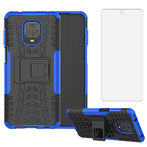 Phone Case for Xiaomi Redmi Note 9 Pro/Note 9s/Note9 Pro Max/Poco M2 Pro with Tempered Glass Screen Protector Cover and Cell Accessories Xiami Xiomis Xiome Redme Note9S Note9Pro 4G Cases Black Blue