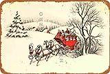Metallschild mit Weihnachtsmann-Elch, Vintage-Blechschild,