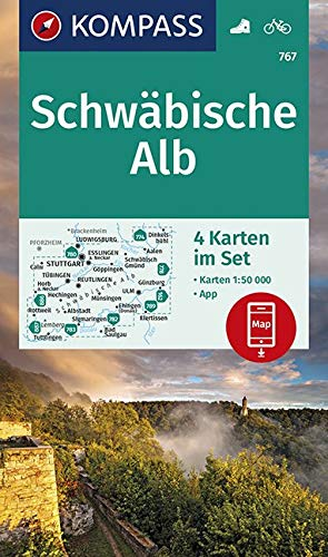 KOMPASS Wanderkarte Schwäbische Alb: 4 Wanderkarten 1:50000 im Set inklusive Karte zur offline Verwendung in der KOMPASS-App. Fahrradfahren. (KOMPASS-Wanderkarten, Band 767)