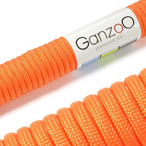 Paracord 550 Seil Orange | 31 Meter Nylon-Seil mit 7 Kern-Stränge | für Armband | Knüpfen von Hunde-Leine oder Hunde-Halsband zum selber machen | Seil mit 4mm Stärke | Mehrzweck-Seil | Survival-Seil | Parachute Cord belastbar bis 250kg (550lbs) - Marke Ganzoo