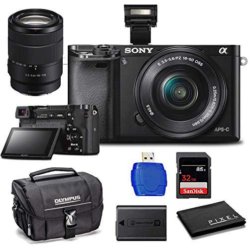 Sony Alpha a6000 Mirrorless Digital Camera with 16-50mm Lens (Black) with Sony E 18-135mm f/3.5-5.6 OSS Lens, SDHC Memory Card, Camera Case and More