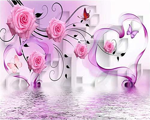 Benutzerdefinierte Große Tapete Wandbilder Papel De Parede 3D-Foto Tapete Stereo Diamant Traum Rose Heart Hotel Tv Hintergrund Tapete-150 * 105Cm