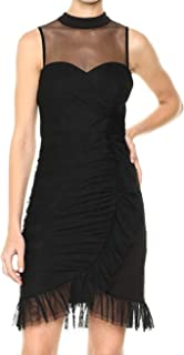 bebe Women's Mesh Ruched Sleeveless Dress with Illusion Neckline