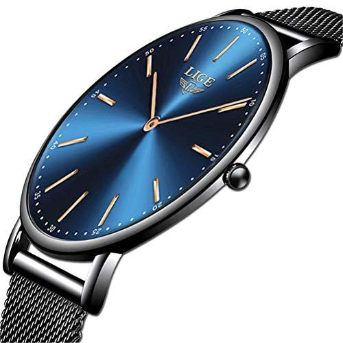 LIGE Relojes Hombre Azul Ultrafino Impermeable Acero Inoxidable Reloj Hombre Moda Simple Negocios Analógico Cuarzo Relojes