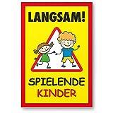 Komma Security Langsam Spielende Kinder Kunststoff Schild 20 x 30 cm Hinweisschild Warnzeichen Warnschild langsam fahren Warnung Hinweis Spielstraße Spielplatz - Vorsicht spielende Kinder