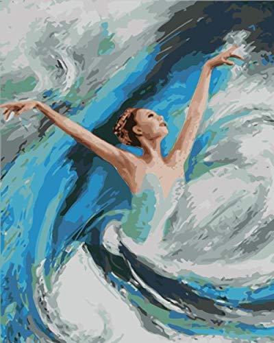 Ivansung Paint by Number Kits Leinwand DIY Ölgemälde für Kinder, Studenten, Erwachsene Anfänger mit Pinseln und Acrylpigment-Abstraktes Balletttänzerin 40X50Cm/15.8X19.7Inch