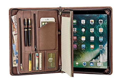 Vintage Crazy-Horse Leather Portfolio for iPad Pro 10.5, Handmade Padfolio Case Business Zippered Organizer Document Folder with Letter Size Notepad, Travel Portfolio Carry Case