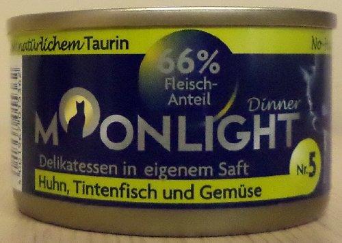 12x80g Moonlight Dinner Katzenfutter Dosen Nassfutter (Nr.5 Huhn Tintenfisch Gemüse)
