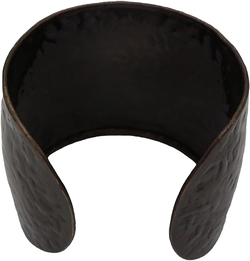 Rosemarie Collections Women's Western Style Patina Horse Hammered Metal Wide Cuff Bracelet