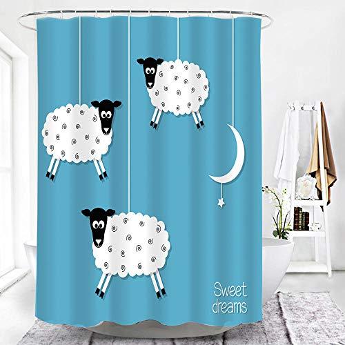 MALECUPWH Polyester Stoff Badewanne Vorhang Wasserdicht Anti Schimmel 200 X 200 cm Schaf-Cartoon-Tier Duschvorhang 200X200 Mit Duschvorhang Haken