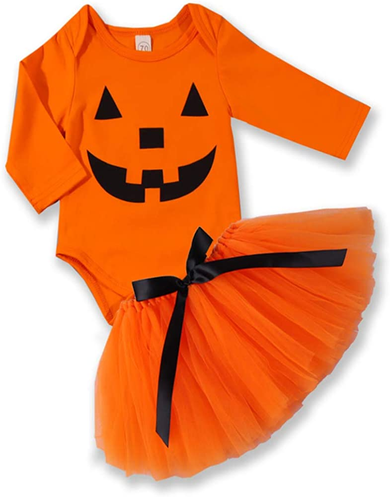 Baby Girl Halloween Costumes Outfit Pumpkin Smiles Long Sleeve Romper Tutu Skirt Outfits